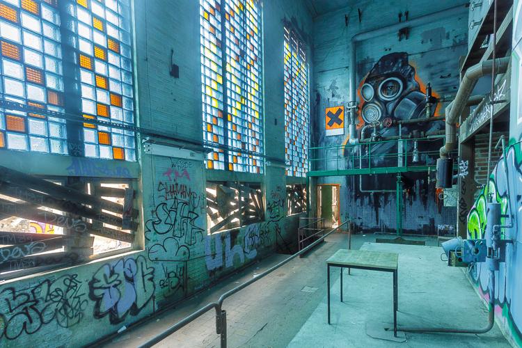 Alte Fleischfabrik; gave graffiti in verlaten fabriekscomplex